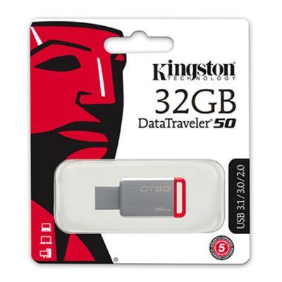 Pen-Drive-32GB-Data-Traveler-USB-3-1-3-0-2-0-Vermelho-Kingston-DT50-32GB