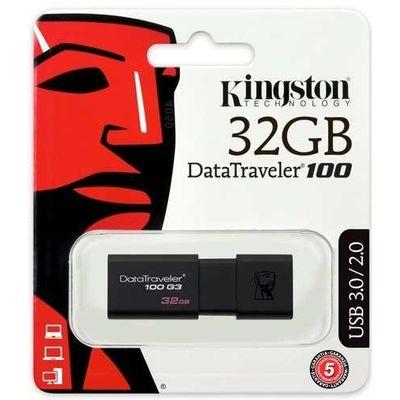 Pen-Drive-USB-3-0-Data-Traveler-100-Preto-32GB-Kingston-DT100G3-32GB