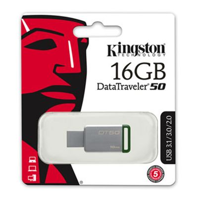 Pen-Drive-16GB-Data-Traveler-USB-3-1-3-0-2-0-Verde-Kingston-DT50