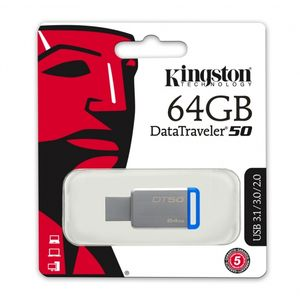 Pen-Drive-64GB-Data-Traveler-USB-3-1-3-0-2-0-Azul---Kingston-DT50-64GB