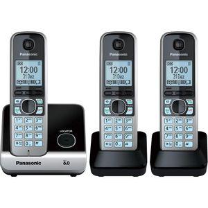 Telefone-Sem-Fio-com-Base-para---2-Ramais-Prata-e-Preto-Panasonic-KX-TG6713LBB