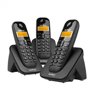 Telefone-Sem-Fio-Digital-Com-Dois-Ramais-Adicionais-TS-3313-Preto---Intelbras-4123103