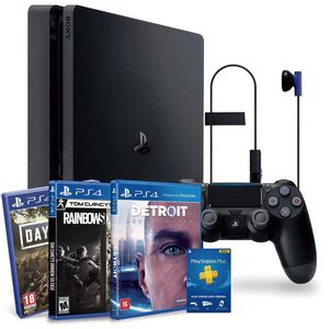 Console-Sony-PlayStation-4-Hits-Bundle-1TB---Days-Gone---Detroit-Become-Human---Tom-Clancy-s-Rainbow-Six---CUH-2214B
