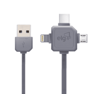 Cabo-Flat-3-em-1--Lightning---USB-Tipo-C---Micro-USB---ELG-PW31C